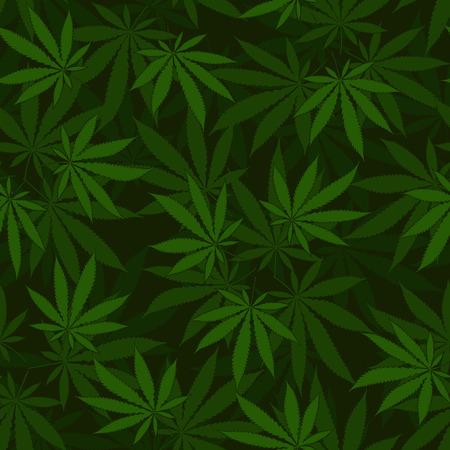 hanf: Cannabis nahtlose Muster Illustration