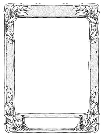frame with laurel, black isolated for portrait, space for name Vector