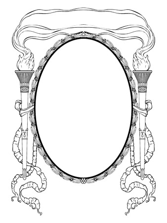 oval frame with torch light and ribbons for portrait Vector