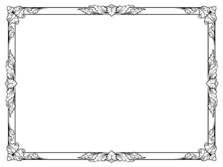 Calligraphie calligraphie bouclés cadre baroque noir isolé Banque d'images - 26605688