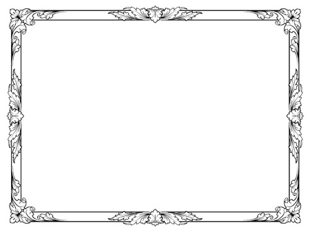 calligraphy penmanship curly baroque frame black isolated Vector
