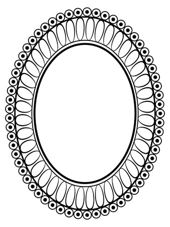 Vector oval black ornamental decorative frame pattern Vector