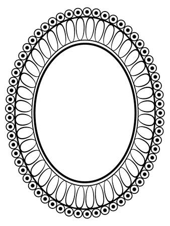 Vector oval black ornamental decorative frame pattern Vector