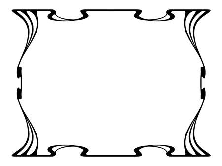 elegant white: Vector art nouveau black modern ornamental decorative frame