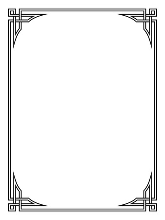 Roman style black ornamental decorative frame pattern isolated  イラスト・ベクター素材
