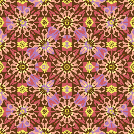 seamless colorful oriental ornament a kaleidoscope of stained glass, background Vector