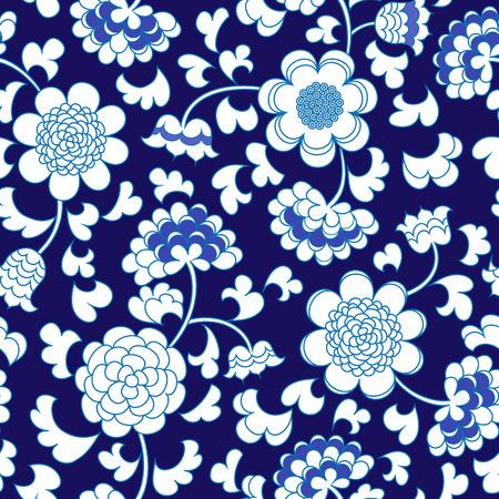 naadloze abstracte blauwe bloemen porselein china achtergrond