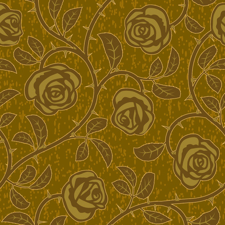 Vector abstract gold rose flowers seamless repeat background Vector