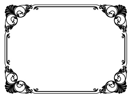 baroque border: calligraphy penmanship curly baroque frame black isolated