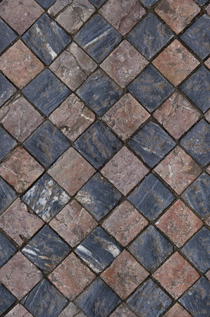 mosaic floor: seamless red, gray square mosaic floor texture Stock Photo
