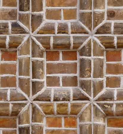 frame on wall: seamless texture cornice in mattoni rossi parete di fondo Archivio Fotografico