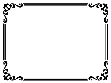 penmanship: calligraphy penmanship curly baroque frame  Illustration