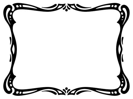 simple line drawing: black modern ornamental decorative frame Illustration