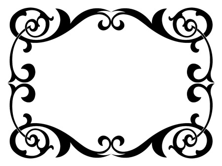 calligraphy penmanship curly baroque frame black isolated