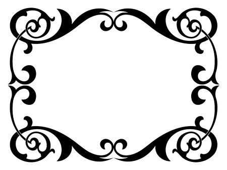 Kalligrafie Schreibkunst geschweiften barocken Rahmen schwarz isoliert