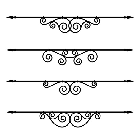fretwork: Vector set of decorative elements, border and page rules frame Illustration