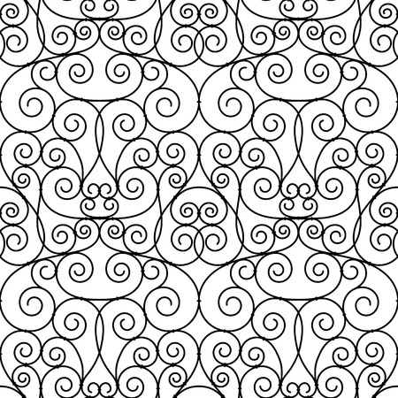 openwork: seamless forged openwork metal abstract black background Illustration