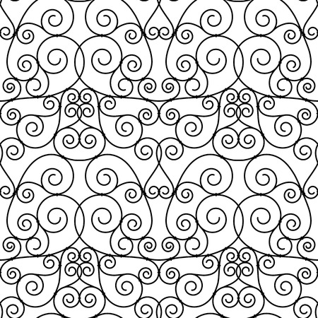 seamless forged openwork metal abstract black background Vector