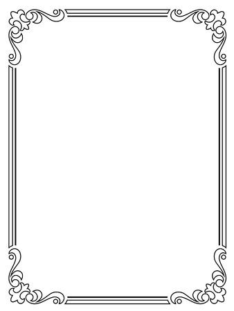 lineas verticales: caligrafía caligrafía barroca marco negro rizado aislado