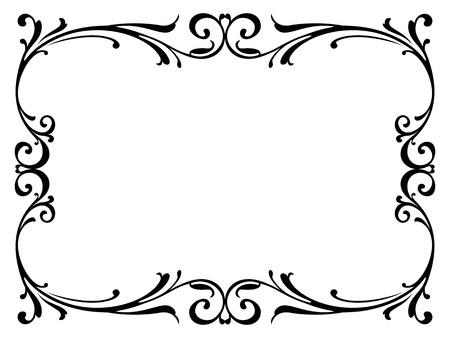 calligraphie calligraphie bouclés cadre baroque noir isolé Illustration