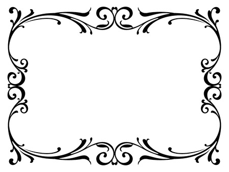 scroll border: calligraphy penmanship curly baroque frame black isolated