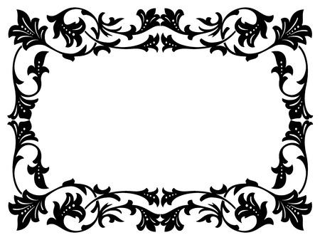 penmanship: calligraphy penmanship curly baroque frame black isolated
