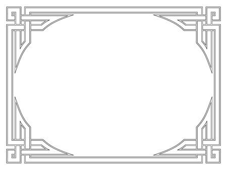 simple frame: Roman style black ornamental decorative frame pattern isolated Illustration