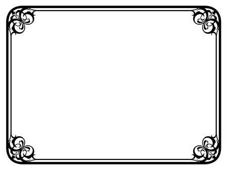Vector eenvoudige zwarte calligraph sier decoratief kader patroon