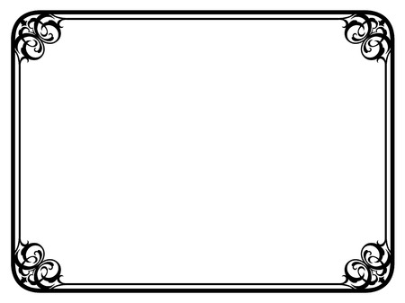 simple border: Vector simple black calligraph ornamental decorative frame pattern