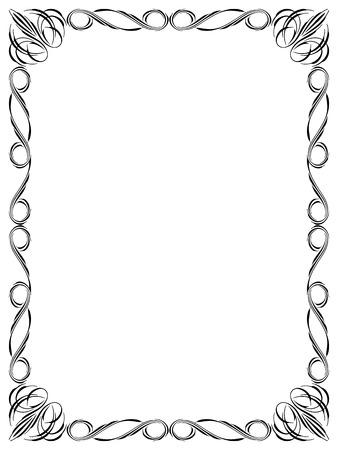 penmanship: Vector calligraphy penmanship ornamental deco frame black