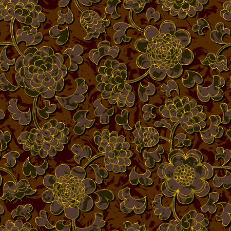gold floral: seamless floral damask brocade pattern background vector Illustration