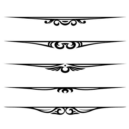 lineas decorativas: Conjunto de vector de elementos decorativos, frontera y p�gina reglas de marco
