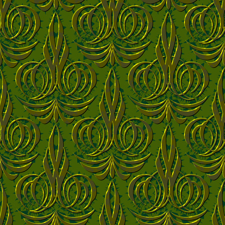 abstract swirl: abstract flourish floral swirl green seamless background pattern