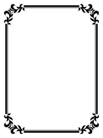 white frame: calligraphy penmanship curly baroque frame black isolated