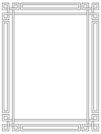 simple border: Roman style black ornamental decorative frame pattern isolated Illustration