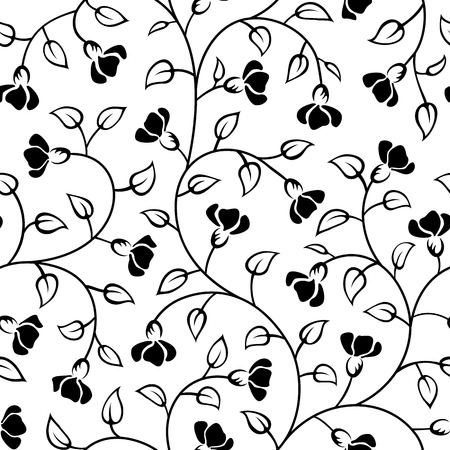 scroll design: abstract flowers leaf seamless background pattern isolated Illustration