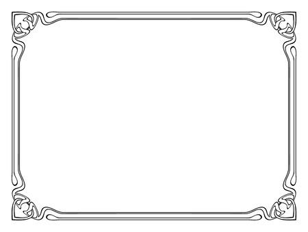 calligraph: Vector art nouveau black modern ornamental decorative frame