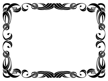 black ribbon frame isolated on white background