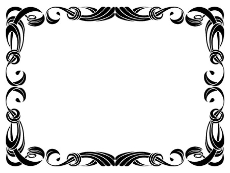black ribbon frame isolated on white background