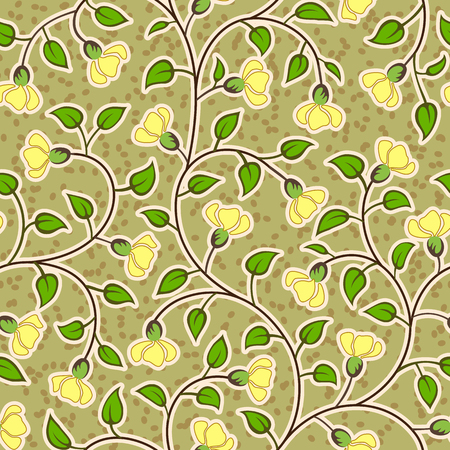 seamless pattern: abstract grunge yellow flowers seamless repeat pattern background Illustration