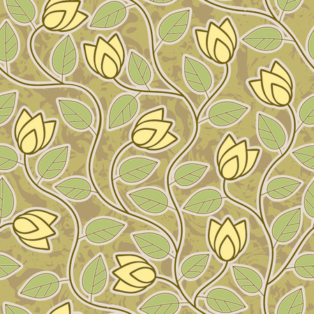 abstract grunge yellow flowers seamless repeat pattern background Illustration