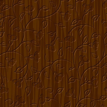 seamless abstract wood carved floral ornament background Illustration