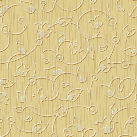 senza soluzione di continuità in legno intagliato astratto ornamento floreale