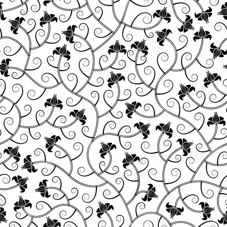seamless floral pattern: floral abstract oriental black calligraphy isolated seamless background