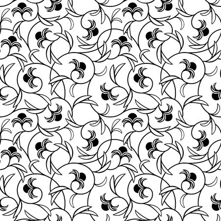 oriental pattern: abstract flowers black seamless repeat pattern background