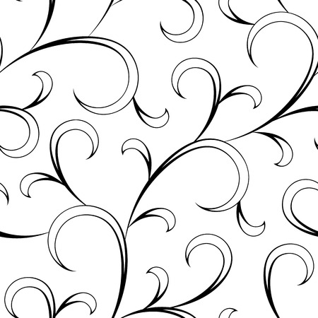 endlos: floral abstrakten orientalischen schwarz Kalligraphie isoliert nahtlose Hintergrund Illustration