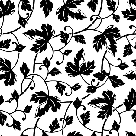 seamless floral pattern: seamless abstract black leaves ornament background isolated
