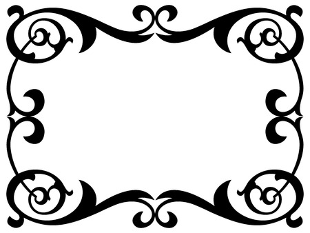 curly: calligraphy penmanship curly baroque frame black isolated