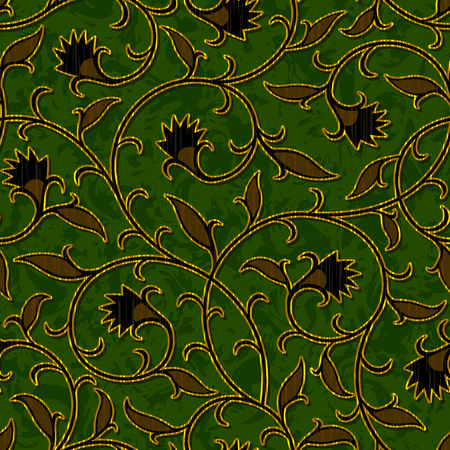 retro pattern: seamless floral dark green damask brocade pattern background vector
