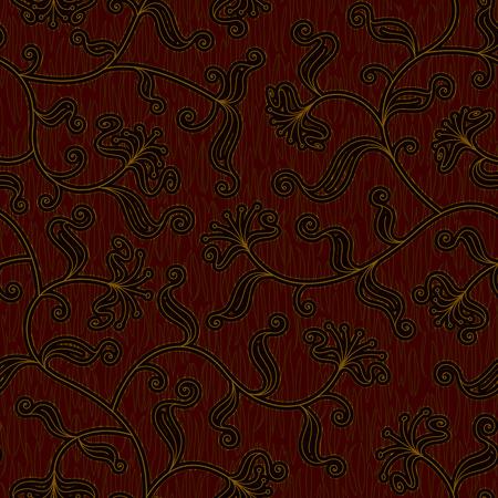brocade: seamless floral dark red damask brocade pattern background vector